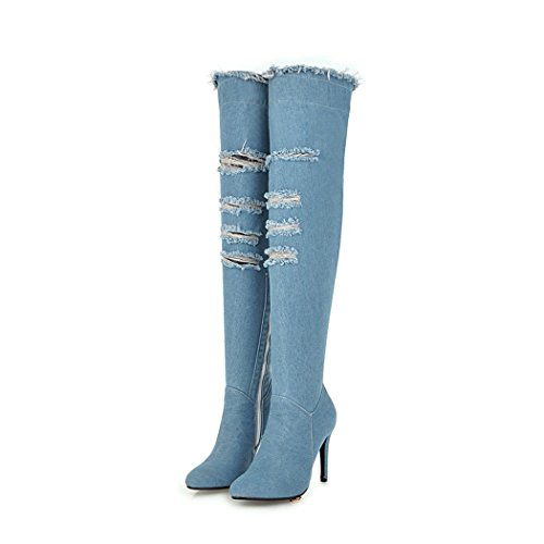 wetkiss Fashion Women Denim Over The Knee Boots Shoes Stiletto high Heels Thigh high Autumn Winter Boots