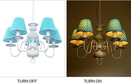 Neue Kronleuchter einfachen Tuch sch?ne Beleuchtung Rauch blaue LED Junge Doppellampenschlafzimmerlampe h?ngen - 2