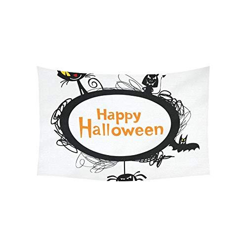JOCHUAN Tapisserie Halloween Frame Silhouetten Schwarze Katze Wandteppiche Wandbehang Blume psychedelischen Wandteppich Wandbehang indischen Wohnheim Dekor für Wohnzimmer Schlafzimmer 60 X 40 Zoll