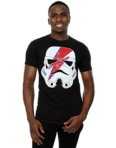 Star Wars Herren Stormtrooper Glam Lightning Bolt T-Shirt X-Large Schwarz (Glam Baumwolle Rock)