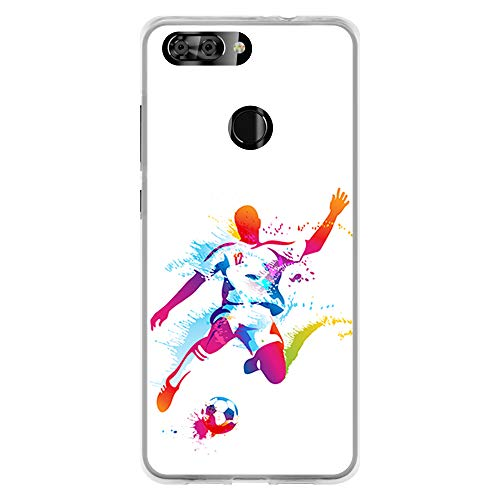 BJJ SHOP Transparent case for [ ZTE Blade V9 ], TPU flexible silicone  shell, design: Abstract football player, paint burst