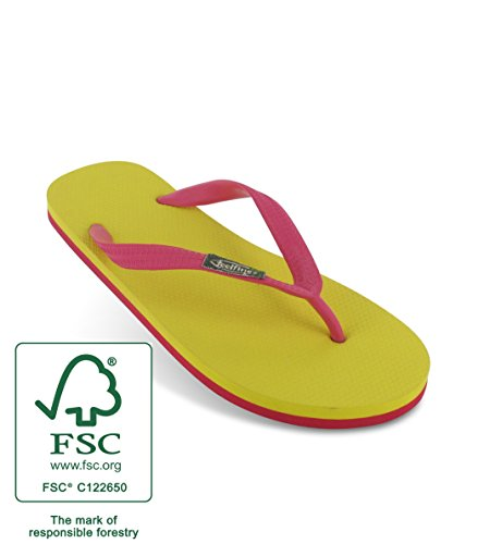 Tongs Feelfinez Canaria, jaune - pink, caoutchouc naturel, thongs jaune – pink