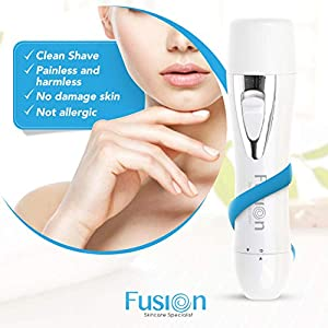 Mini Portable Electric Facial Hair Remover Shaver for Women to Cut Peach Fuzz Chin Upper Lip Face Cheeks | Painless Fine Hair Removal for Ladies Arms Bikini Armpits Underarm | Waterproof Rechargeable