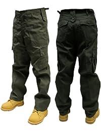 Adultes Uni Pantalon Combat couleur - Olive,taille -W32/L32