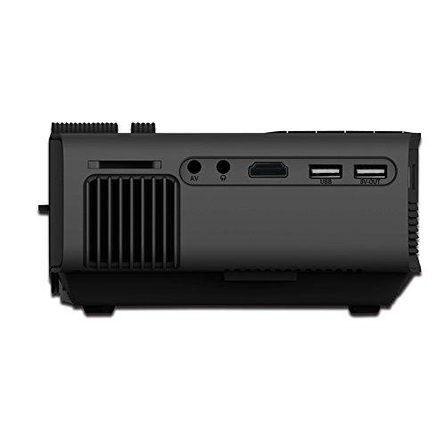 Bright Love Heimkino-Projektor, Artlii HD-Videoprojektor, Tragbarer Videoprojektor Mit HDMI-USB AV VGA SD, 800 * 480 Pixel Unterstützung 1080P Für Sportveranstaltungen,Black