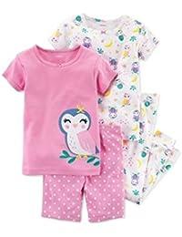 Carters - Set de Pijama de 4 Piezas con Estampado de búho, Color Rosa,