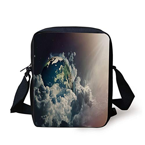 World,Abstract Planet Earth View with Majestic Clouds Sun Rays and Stars,Dark Blue White Pale Yellow Print Kids Crossbody Messenger Bag Purse 6 Cell White Star