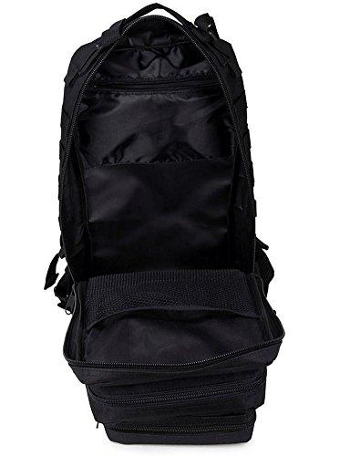 super-bab tattico zaino da trekking sport borsa da viaggio zaino campeggio trekking, mimetico, Black 02