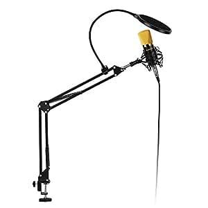 AUKEY Microfono a Condensatore Corredo con Cavalletto di Sospensione Universale e Regolabile Utilizzato in Studio, nella Casa per i vari tipi Computer (Nero, GD-G1)
