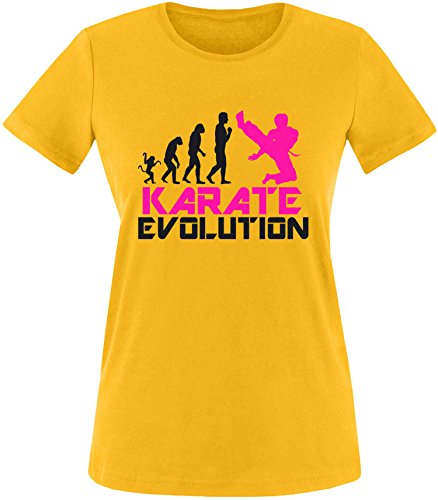 EZYshirt® Karate Evolution Damen Rundhals T-Shirt Gelb/Schwarz/Pink