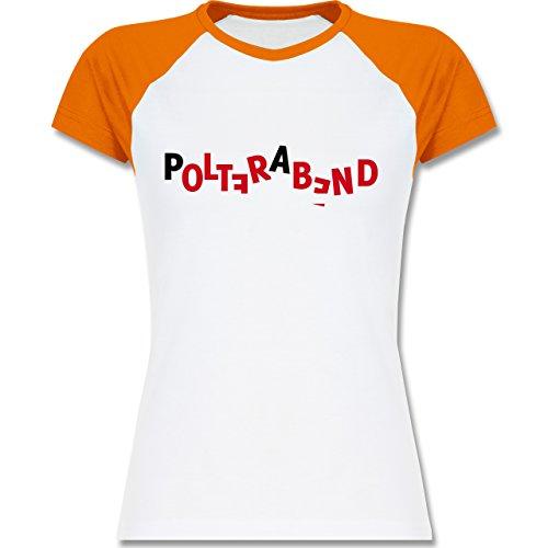 JGA Junggesellinnenabschied - Polterabend - zweifarbiges Baseballshirt / Raglan T-Shirt für Damen Weiß/Orange