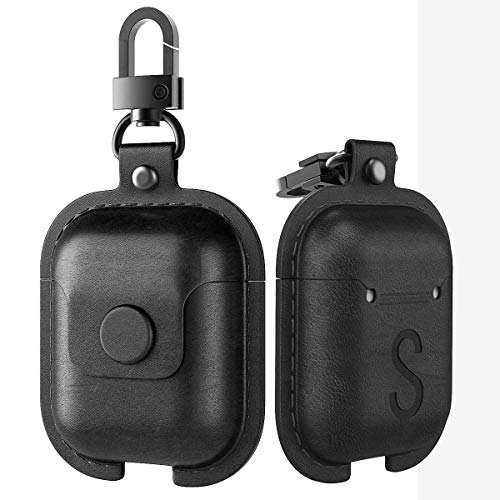 MoKo Case Fit AirPods 1/AirPods 2, Premium Leather Vintage Style Snap Closure Protective Cover Carrying Pouch Pocket with Keychain for Apple AirPods 1 & AirPods 2 Earphones Charging Case - Dark Black - Black Premium Earbuds