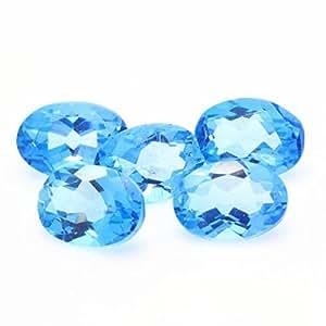 Topaze bleu ( swiss blue ) . IF - VVS1. Ovale . ( vendu à l'unité ) . Brésil - 6 x 4 mm
