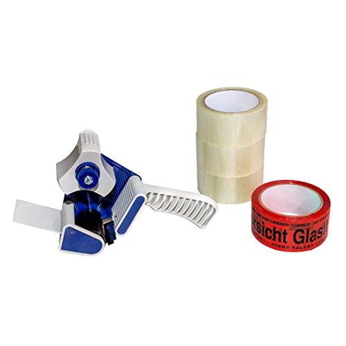 (0,02EUR/m) 4 Rollen Klebeband 66m 50mm Packband Paketband 1 Abroller Set 1