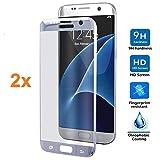 REY 2X Protector de Pantalla 3D para Samsung Galaxy S7 Edge, Plata, Protección Completa, 3D / 4D / 5D
