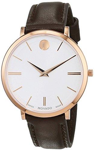 Movado Damen Datum klassisch Quarz Uhr mit Leder Armband 607093