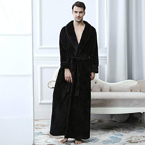 WEII Herbst Und Winter Warme Pyjamas Mode Dicke Männer Bademäntel Einfarbig Plus SAMT Gestreifte Robe,Schwarz,XL -