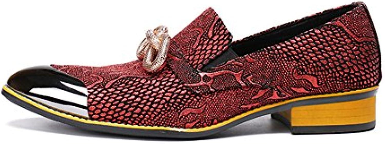 CAI Mocasines para Hombres Primavera/Otoño / Invierno Acentuados/Zapatos de Cuero Confortables/Trend / Rojo/Transpirable...