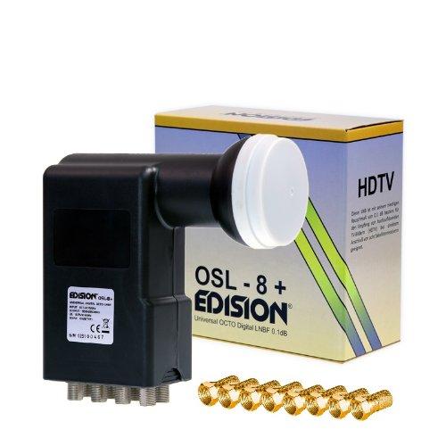 Edision OSL-8+ Octo LNB Set inkl. 8x Tivido F-Stecker für acht Satelliten-Receiver (8 Teilnehmer, HD, 3D, Wetterschutz) schwarz