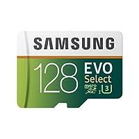 Samsung 128GB 100MBs U3 MicroSD EVO Select Memory Card with Adapter