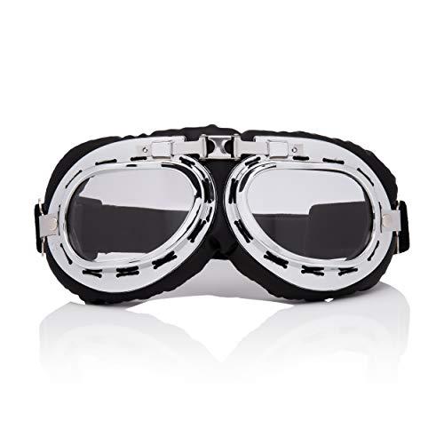 Silver mit Klaren Linsen Vintage Classic Style Motorradhelm und Steampunk Fliegerbrillen Retro Cyber Brille Victorian Gothic Eyewear Schweißen Rave Rivet Cosplay Kupfer Rustikale Linsen Kostüm ()