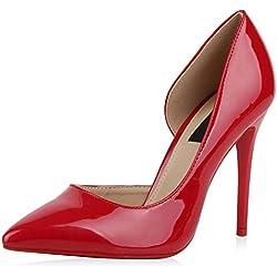 best-boots - Zapatos brillantes de tacón para señora, color rojo, talla 40 EU