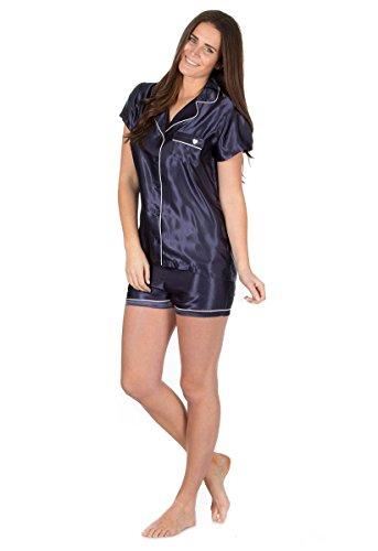 Pour Femmes Léger Short Été et Haut Manches Courtes Satin Set Pyjama Bleu Marine