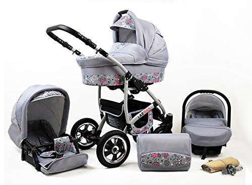 Lux4Kids 3 in 1 Combi pram Pushchair Stroller Complete Set with car seat Isofix Larmax Pink Owl 4in1 car seat +Isofix Lux4Kids Lux4Kids 4in1 or 3in1 or 2in1 pushchair. You have the choice whether you need a car seat (baby seat certified according to ECE R 44/04 or not). Of course, the Pram is stabil, safe and durable Certificate EN 1888:2004 Of course, the baby Basket has a rocking function when it is removed from the pram. The push handle adapts to your size and fits for everyone 1