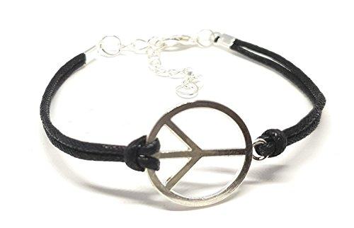 Peace Armband - Handmade Leder Armband Unisex - Größe verstellbar (schwarz/silber)