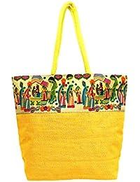Kalamkari Multi-colored Jute Tote Bag For Girls/Women (Yellow)