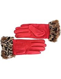 FERETI® Guantes Tactiles Mujer De Leopardo Print Animal Gato Piel Puño Pelo  Leopard Invierno f38b787a34f
