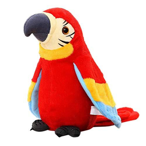Kylewo Sprechender Plüschvogel Papagei Vogel Plüschtiere Kuscheltiere Spielzeug Jungen und Mädchen