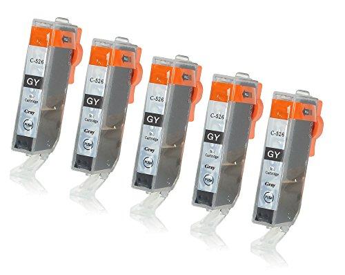 5 Druckerpatronen mit Chip und Füllstandsanzeige kompatibel zu Canon CLI-526 (Grau) passend für Canon Pixma MG-6150 MG-6250 MG-8150 MG-8240 MG-8250 (Grau Passend)