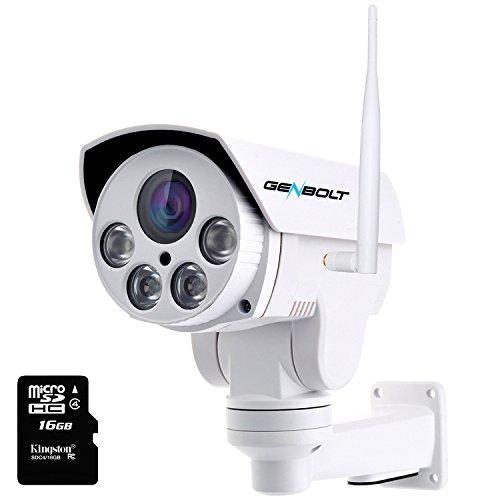 (AUTO-ZOOM) WiFi Wlan IP Sicherheits Kamera - GENBOLT drahtlose Überwachungskamera PTZ Bullet IP Kamera mit 960P HD-Auflösung, optischem 4-fach Zoom, 200ft IR-Nachtsichtreichweite, IP66 Wasserdicht (4X AUTO-ZOOM)