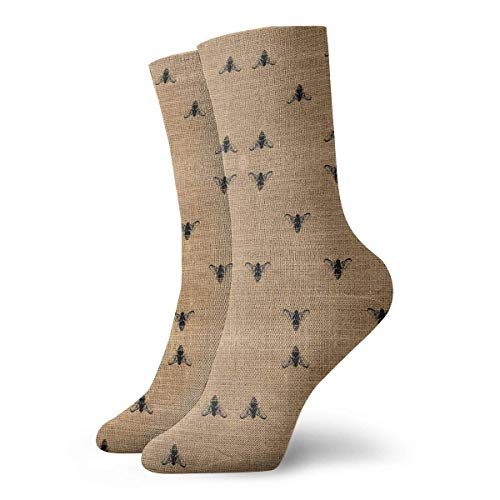 Crazy Sport Socke (Bees Wide On Burlap Fabric (1802) Men Women Novelty Funny Crazy Crew Sock Printed Sport Sportliche Socken 30cm Long Personalized Gift Socks)
