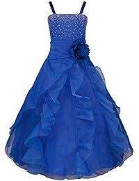 YiZYiF Enfant Filles Robe Mariage Demoiselle robe Bustier Paillettés Jupe Longue Organza 2-14 Ans