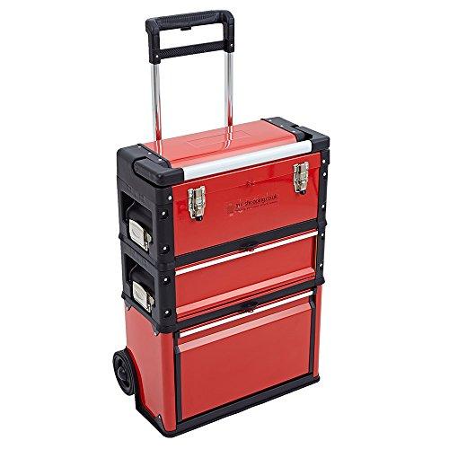 New Trueshopping–3en 1Trolley Caja De Herramientas Set con 3cajones de almacenamiento–en el pecho con cojinete de bolas deslizante llama