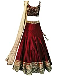 Clickedia Girl's Silk and Georgette Semi-stitched Lehenga Choli with Dupatta(Meera-Maroon-Kids-Lehenga_Red, Maroon and Gold_Free Size)