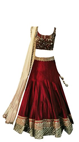 Clickedia Girls Silk & Georgette Lehenga Choli (Meera-Maroon-Kids-Lehenga_Red Maroon and Gold)