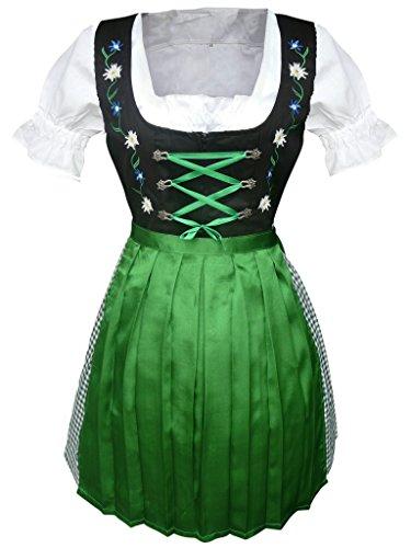 Di13 Mini Dirndl, 3 teiliges Trachtenkleid in grün schwarz mit Blumenstickerei, Kleid mit Bluse und grüner Schürze, Rocklänge 54 cm, Gr. 44 (Rock Verziert Leinen)