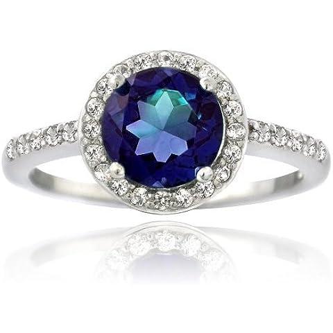 Sterling Argento Creato Zaffiro blu e bianco anello