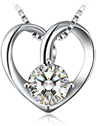 Crystal Love Heart Necklace for Women, 925 Sterling Silver 5A Cubic Zirconia J.Rosée Jewellery Best Gift for Women with Gift Packed Gift Packed 45cm-50cm