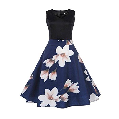 n Vintage 1950er Ärmellos Casual Abend Partei Abschlussball Schwingen Kleid Cocktailkleid Rockabilly Kleid(A-Blue,EU-40/CN-L) (Blue Santa Kleid)