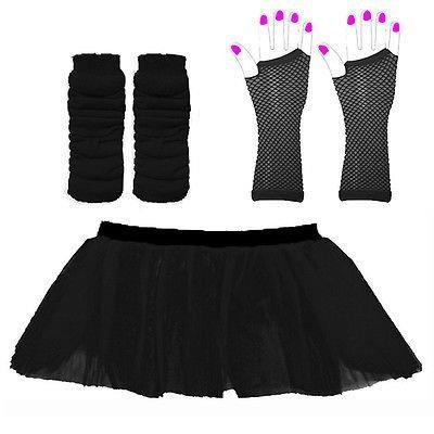Wickd Damen-Tutu, Rock mit Beinwärmern und Fischnetzhandschuhen, Neon, 2 Verschiedene Größen erhältlich Rosa schwarz 8-14 ()