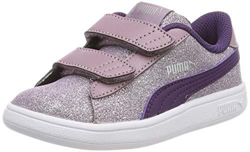 Puma Baby Mädchen Smash v2 Glitz Glam V Inf Sneaker, Pink (Elderberry-Indigo Silver White), 22 EU