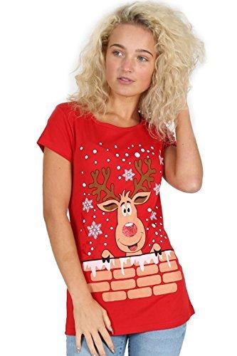 Oops Outlet Damen T-shirt Santa Elfe Kostüm Rentier Rudolph Schneeflocken Weihnachten Kurzärmlig Mini T-shirt Top - Rentier On Wand Rot, (Kostüm Schneeflocke Muster)