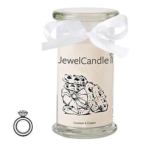 JewelCandle Cookies & Cream - Bougie Parfumée avec Bijou Surprise en Arg