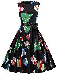 d04d96165855 KOLY Vestito di Natale delle Donne Pin Up Swing Senza Maniche Dress del  Pannello Vintage Stampato