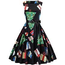 KOLY Vestito di Natale delle Donne Pin Up Swing Senza Maniche Dress del  Pannello Vintage Stampato 5907c6f64a2