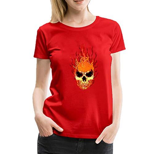 T shirt donna manica corta cool flame skull skeleton stampa casual moda top girocollo estiva maglia donna felpe collo rotondo, manica corta, donna rosso xl